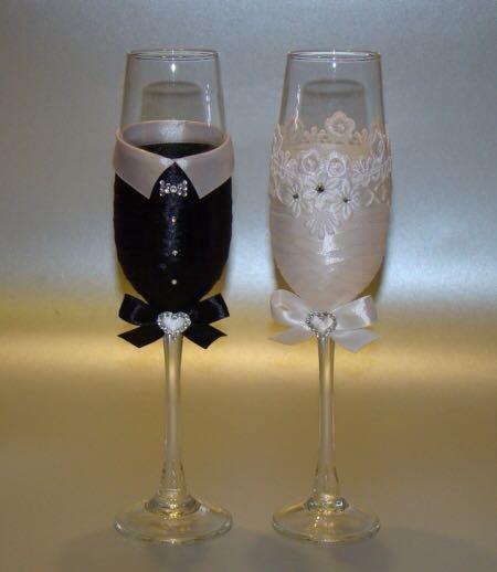 Бокалы на свадьбу своими руками пошаговое жених и невеста