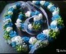 Венок, ободок цветочный с браслетом