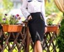 Стильная юбка с кожаными вставками размер 48-50