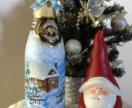 Ручная роспись бутылок к праздникам
