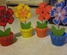 Для декора деревянные цветы новые