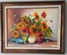 """Картина """"Букет подсолнухов"""", 30×40, холст, масло."""