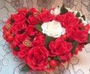 Нежный букет из роз в форме сердечка ❤️