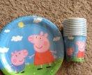 Тарелки и стаканы Свинка Пеппа новые