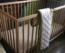 Детская кроватка икеа, матрас и ободок