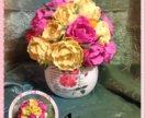 Розы в горшочке ручной работы