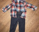 Джинсы и рубашка Carters 6-9 мес