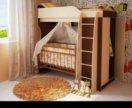 Двухярусная кроватка со шкафом