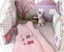 Бампер/бортики-подушки в кроватку+ 2 простыни