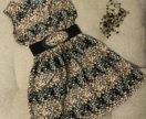 Платье шифон в цветочек 42 размер