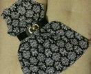Платье шифон черно—белое 42 размер