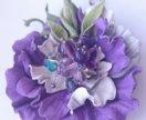 Брошь-цветок из натуральной кожи, ручная работа.