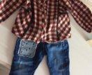 Zara джинсы и рубашка