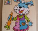 Деревянный пазл Кролик с морковкой