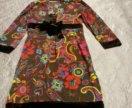 Платье с велюровой отделкой