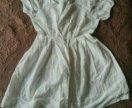 Белоснежное платье-туника из хлопка с шитьем.