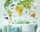Карта мира - интерьерная наклейка