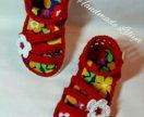 Вязанные сандалики для девочки