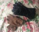 Перчатки замша и кожа