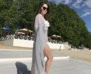 Серая переливающаяся туника халат на пляж