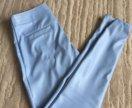 Небесно-голубые кожаные леггинсы