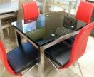 Черный раскладной стеклянный стол