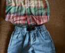 Gap рубашка и шорты, брюки и кепка,рр 86-92 см,