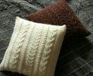 Подушка вязаная с косами