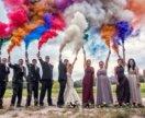 Цветной дым для свадебной фотосессии