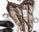 Платье-комбинация из шёлка с отделкой кружевом