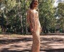 Платье на запах золотой jovani
