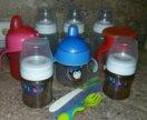 Пакетом поильники , бутылки