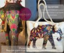Стильная пляжная сумка с принтом слона и канатами