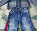 Продам детский джинсовый костюм размер 98.на молни