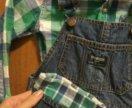 Джинсовый комбинезон и рубашка