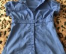 Блузка рубашка Stradivarius хлопок васильковая