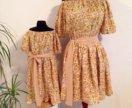 Одинаковые платья для мамы и дочки.