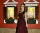 Вечернее платье цвета марсала в пол