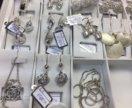 серебро комплект серьги кулон