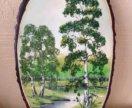 Картина на срезе дерева из камня панно