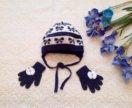 Детская шапка и перчатки для девочки на осень