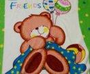Мягкий велсофт 100х110см рисунок эффектный детский