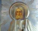 Икона 19 век Серафим Саровский 19 век серебро.