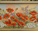 Картина из гобелена Маки 55*117 см в багете