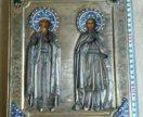 Икона 19 век Владимир и Екатерина оклад серебро.