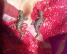 Сережки ящерки с кристаллами Swarovski