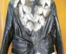 Курточка с песцом из эко кожи Зима
