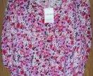 Новая хлопковая блуза с цветами 60-62 р-р