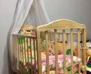 Детская кроватка +матрас +бортик +балдахин
