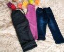 Джинсы и штаны на флисе, брючки вельвет